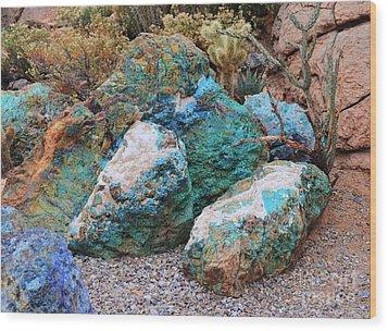 Turquoise Rocks Wood Print by Donna Greene