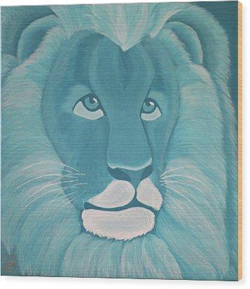 Turquoise Lion Wood Print