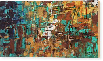 Wood Print featuring the painting Turquoise Scent by Carmen Guedez
