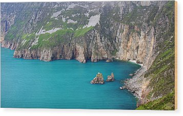 turquoise sea at Slieve League cliffs Ireland Wood Print by Pierre Leclerc Photography
