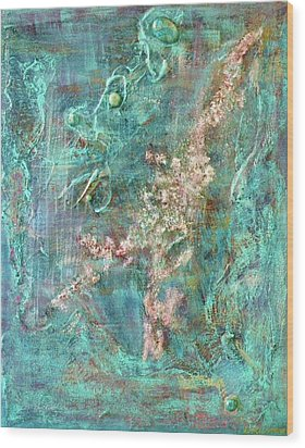Turquoise Universe Wood Print by Lynn Watters