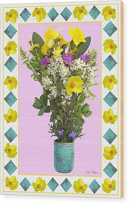 Wood Print featuring the digital art Turquoise Vase With Spring Bouquet by Lise Winne