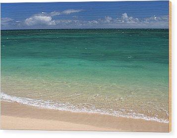 Turquoise Water Of Kanaha Beach Maui Hawaii Wood Print by Pierre Leclerc Photography