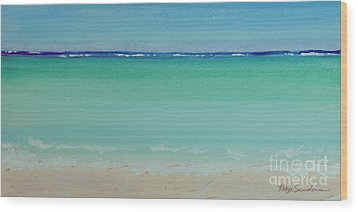 Turquoise Waters Long Abstract Wood Print
