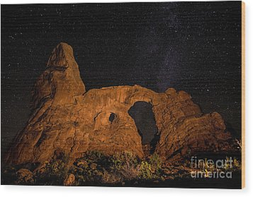 Wood Print featuring the photograph Turret Arch And The Milky Way - Utah by Gary Whitton