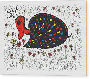 Snurtle Snail Turtle And Flowers Wood Print