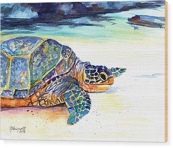 Turtle At Poipu Beach 2 Wood Print