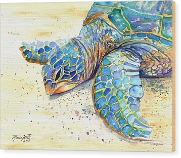 Wood Print featuring the painting Turtle At Poipu Beach 4 by Marionette Taboniar