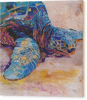 Wood Print featuring the painting Turtle At Poipu Beach 6 by Marionette Taboniar