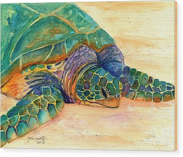 Wood Print featuring the painting Turtle At Poipu Beach 7 by Marionette Taboniar