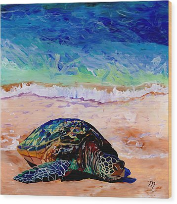 Wood Print featuring the painting Turtle At Poipu Beach 9 by Marionette Taboniar