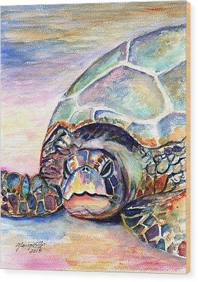 Turtle At Poipu Beach Wood Print
