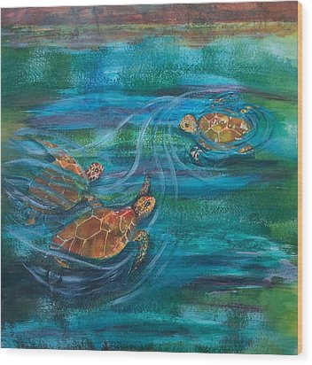 Turtle Ballet Wood Print by Bonnie Rabert