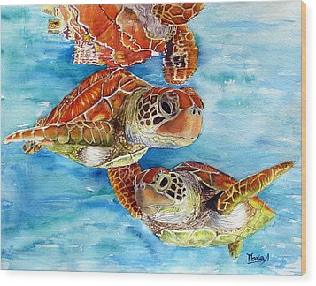 Turtle Crossing Wood Print by Maria Barry
