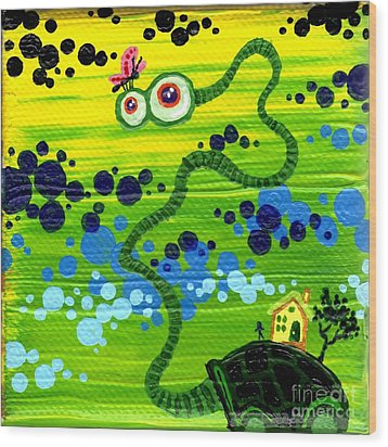 Turtle Guy Wood Print by Dan Keough