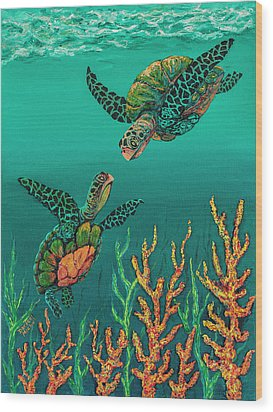 Wood Print featuring the painting Turtle Love by Darice Machel McGuire