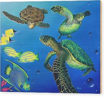 Turtle Towne Wood Print by Angie Hamlin