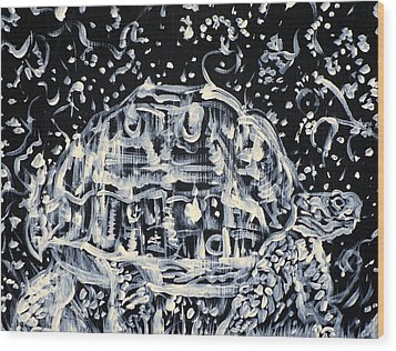 Wood Print featuring the painting Turtle Walking Under A Starry Sky by Fabrizio Cassetta