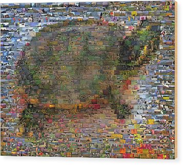 Wood Print featuring the mixed media Turtle Wild Animals Mosaic by Paul Van Scott