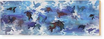Turtles In Heaven Wood Print