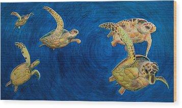 Turtles Wood Print by Julia Collard