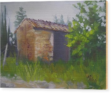 Wood Print featuring the painting Tuscan Abandoned Farm Shed by Chris Hobel