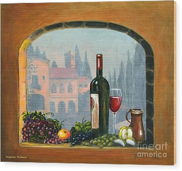 Tuscan Arch Wine Grape Feast Wood Print