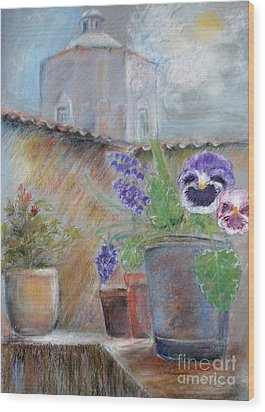 Tuscan Courtyard Wood Print by Sibby S