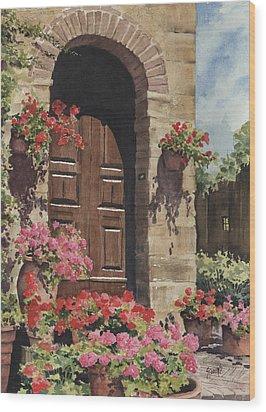 Tuscan Door Wood Print by Sam Sidders