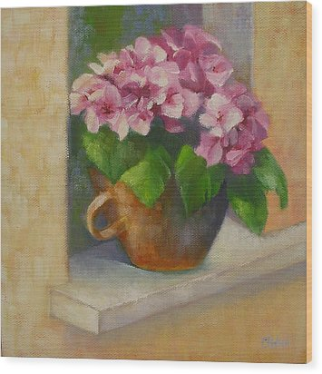 Wood Print featuring the painting Tuscan Flower Pot Oil Painting by Chris Hobel