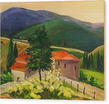Tuscan Hills Wood Print by Elise Palmigiani