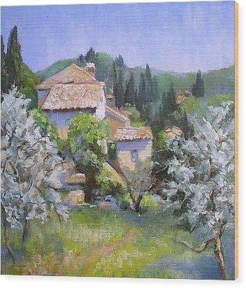 Tuscan  Hilltop Village Wood Print