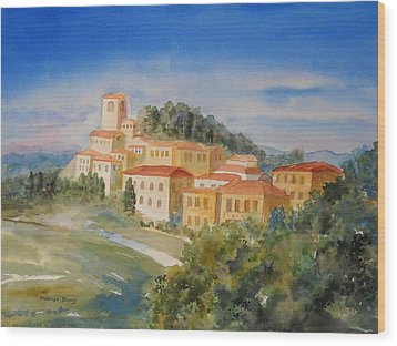 Tuscan Hilltop Village Wood Print by Marilyn Young