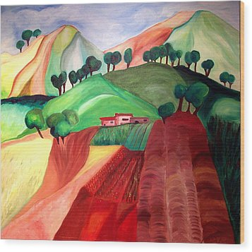 Tuscan Landscape Wood Print by Patricia Arroyo