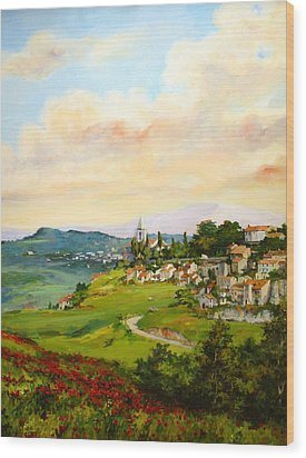 Wood Print featuring the painting Tuscan Landscape by Tigran Ghulyan
