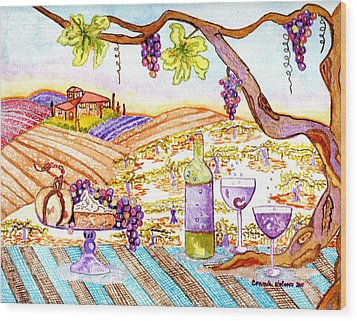 Tuscan Living In Style Wood Print by Connie Valasco