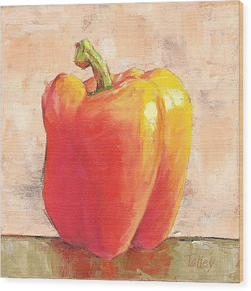Wood Print featuring the painting Tuscan Orange Pepper by Pam Talley