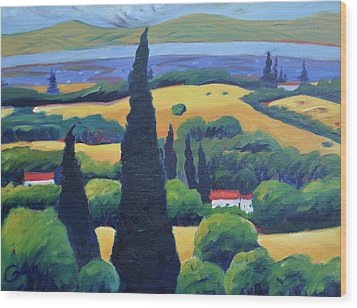 Tuscan Pines And South Bay Wood Print by Gary Coleman