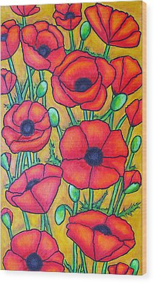 Tuscan Poppies - Crop 1 Wood Print by Lisa  Lorenz