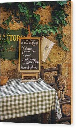 Tuscan Restaurant Patron Wood Print by Andrew Soundarajan