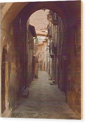 Wood Print featuring the photograph Tuscan Side Street by Michael Flood