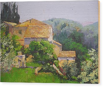 Wood Print featuring the painting Tuscan Village by Chris Hobel