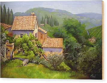Wood Print featuring the painting Tuscan Village Memories by Chris Hobel