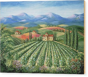 Tuscan Vineyard And Abbey Wood Print by Marilyn Dunlap