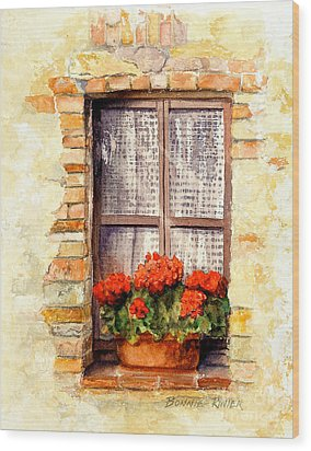 Wood Print featuring the painting Tuscan Window by Bonnie Rinier