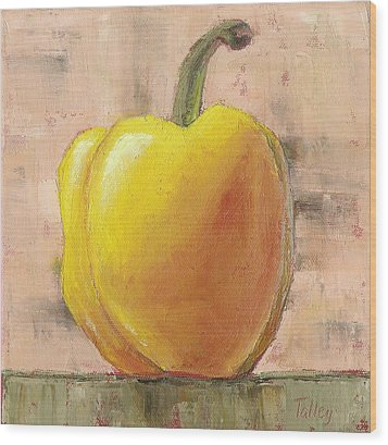 Wood Print featuring the painting Tuscan Yellow Pepper by Pam Talley