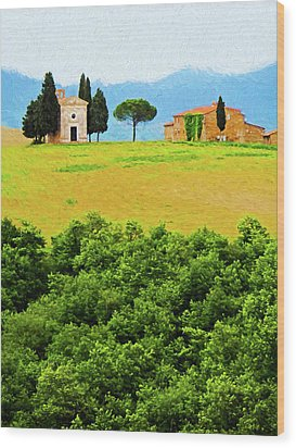 Tuscany Chapel And Farmhouse Wood Print by Dennis Cox