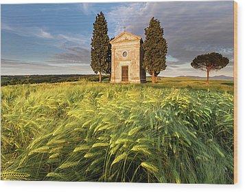 Tuscany Chapel Wood Print by Evgeni Dinev