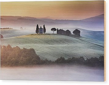 Tuscany Church On The Hill Wood Print by Evgeni Dinev