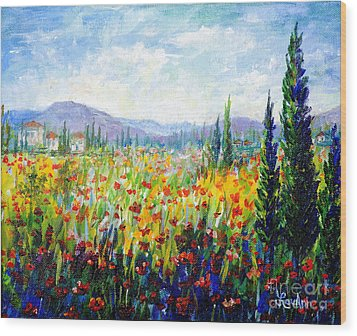 Tuscany Fields Wood Print by Lou Ann Bagnall